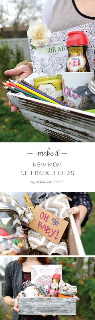 Celebrate the new moms in your life by making a thoughtful gift basket! Include things like coffee (decaf!), COFFEE-MATE creamer, trail mix, a coloring book and pencils, a scented candle, and a coffee mug! #SipIndulgence #ad
