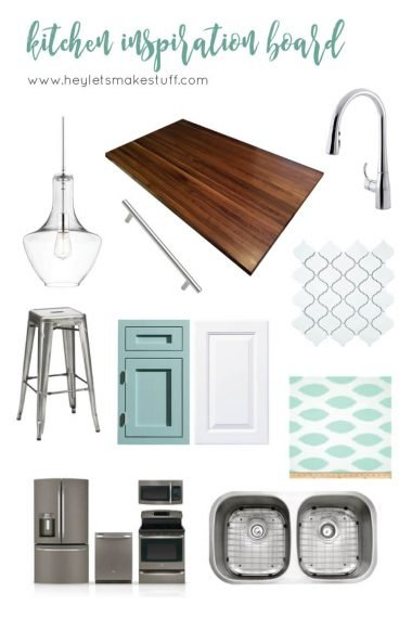Kitchen inspiration board: teal, white, chrome, and walnut. The perfect clean, bright kitchen!