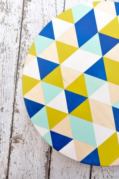Geometric Painted DIY Lazy Susan