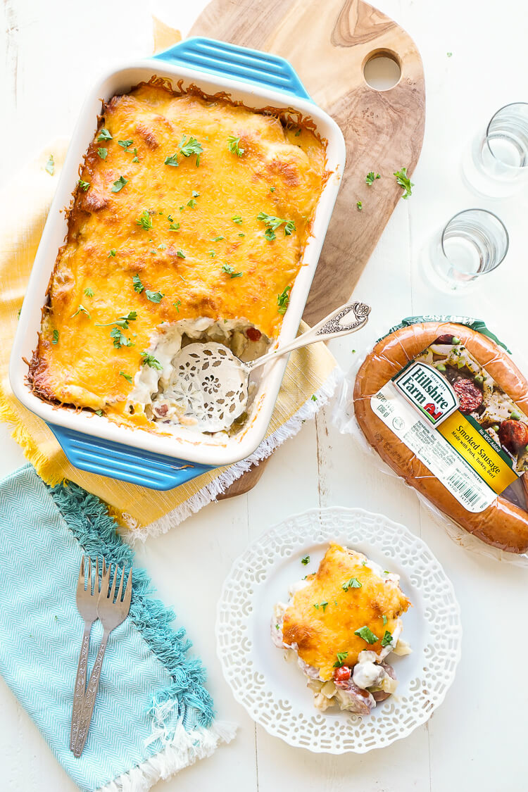 Need a hearty, savory meal that comes together in about 30 minutes? This creamy sausage casserole is a delicious family meal. Also perfect for potlucks! ##pmedia #ad #nohasslesavorymeal