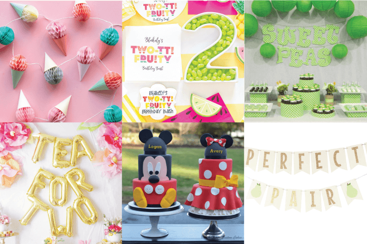 Collage of twin birthday party theme ideas