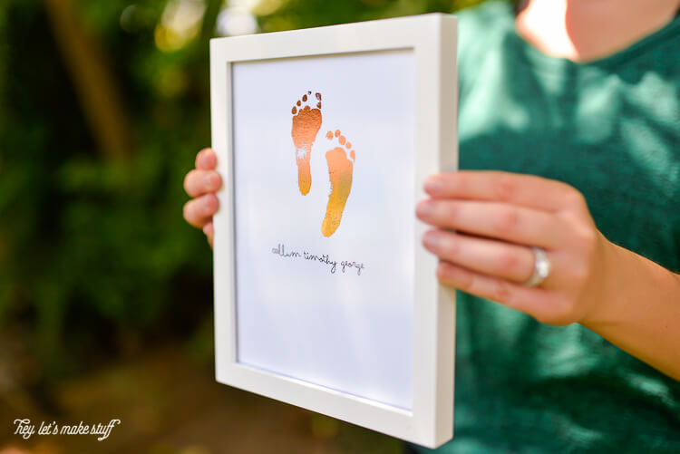 Take your newborn's footprints and turn them into a foiled keepsake. So sweet in a nursery or for a Father's Day or Mother's Day gift.