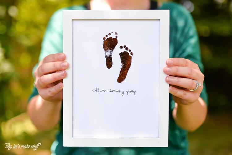 foiled footprint art sign