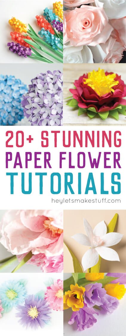 Here are more than twenty beautiful paper flower tutorials. Perfect for weddings, baby and bridal showers, nurseries, and party decor!