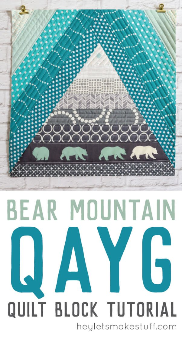 This mountain-inspired quilt-as-you-go tutorial is a fun quilt block perfect for a mountain nursery or any woodland decor!