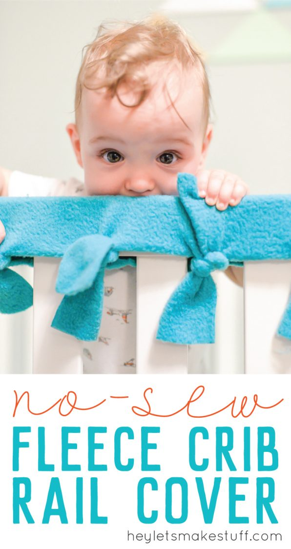 easy, no-sew fleece crib rail cover pin image