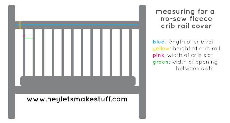 Baby chewing on the rails of his or her crib? Make these easy, no-sew fleece crib rail covers to protect the crib and your baby's teeth!