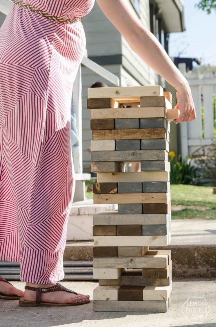 Giant Jenga set for an outdoor wedding