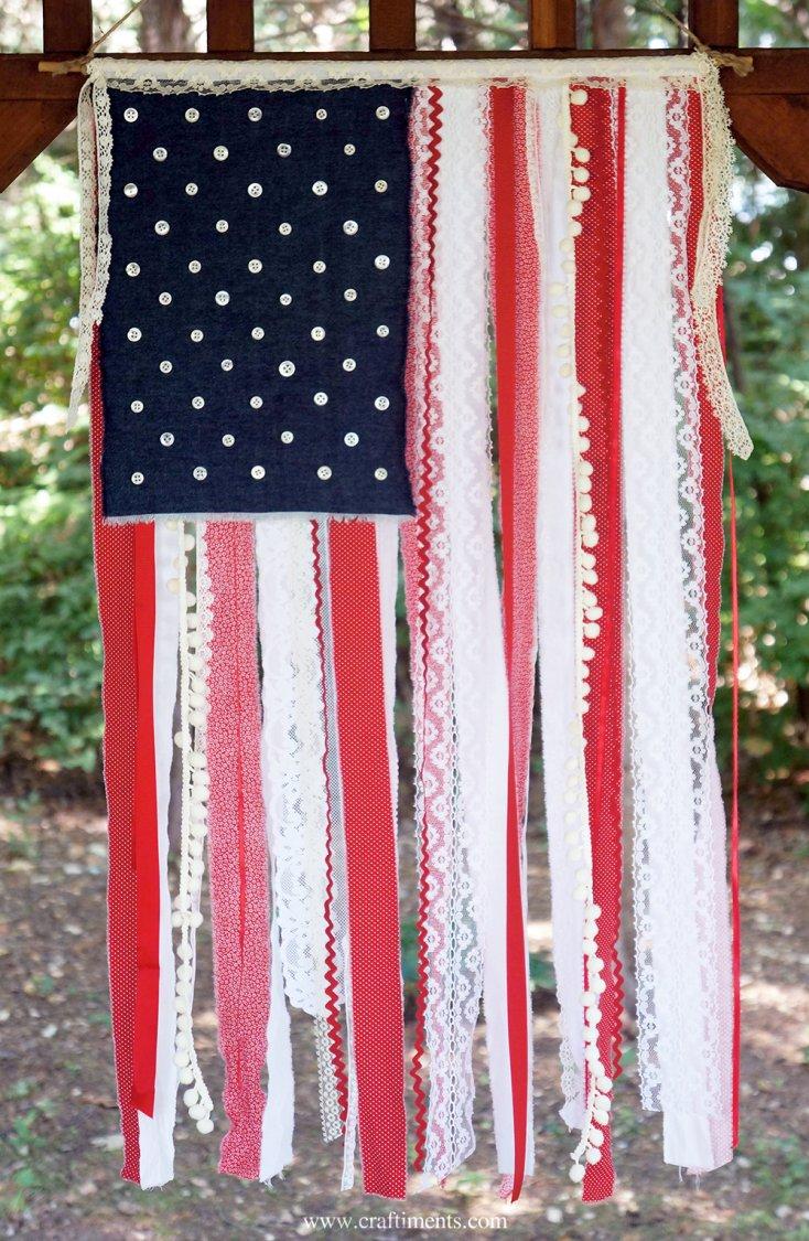 ribbon scraps to make american flag