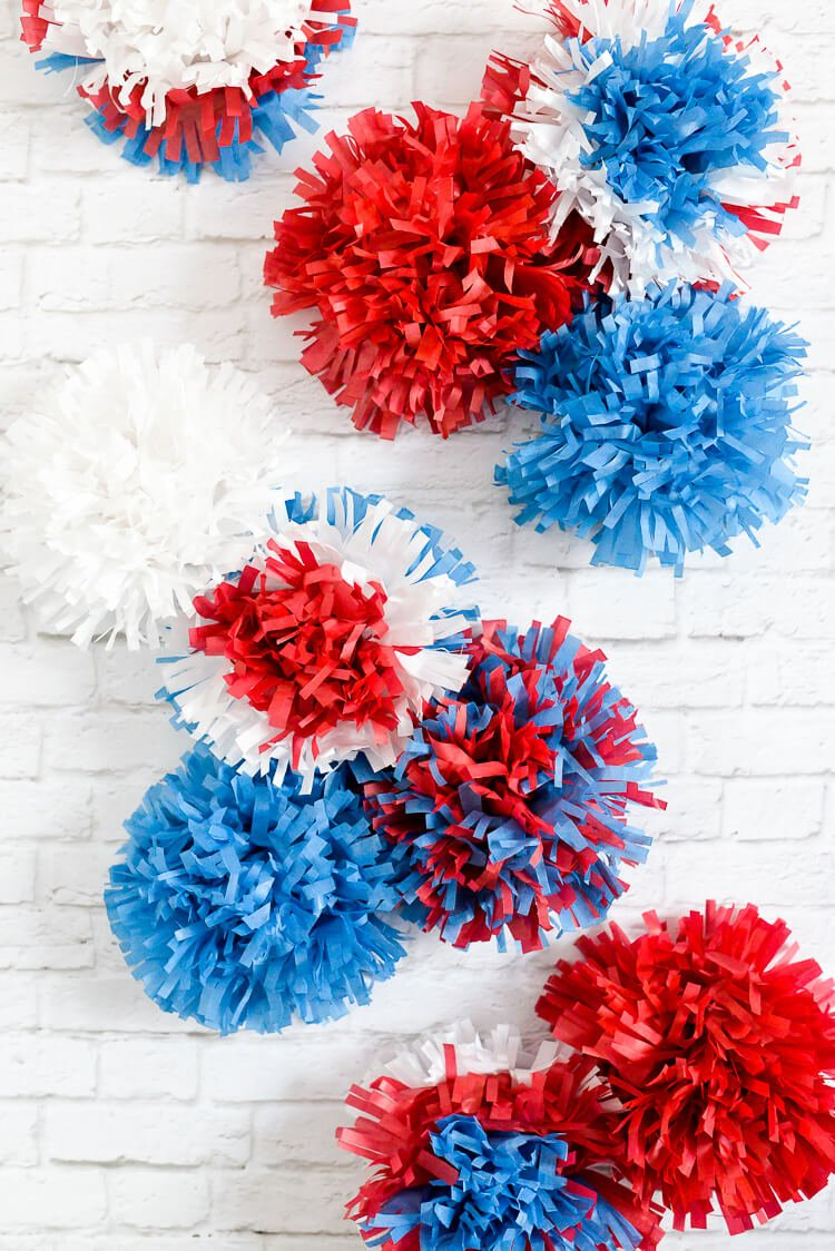 Red, white, and blue tissue paper fireworks