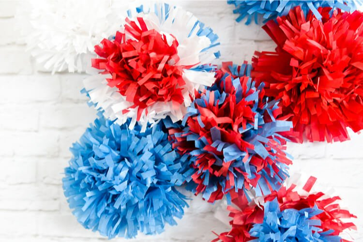 DIY Red, white, and blue tissue paper fireworks