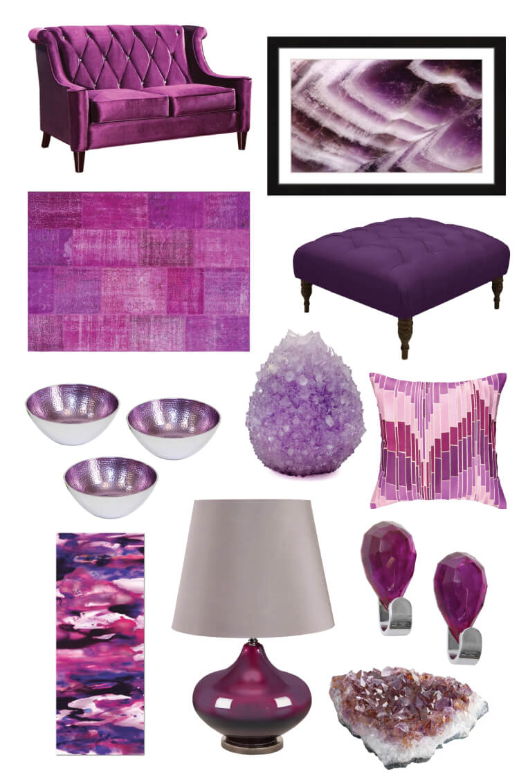 Decorating with amethyst brings vibrancy and passion to any space. Pair it with metallics like gold or neutrals like deep gray for an elegant look.