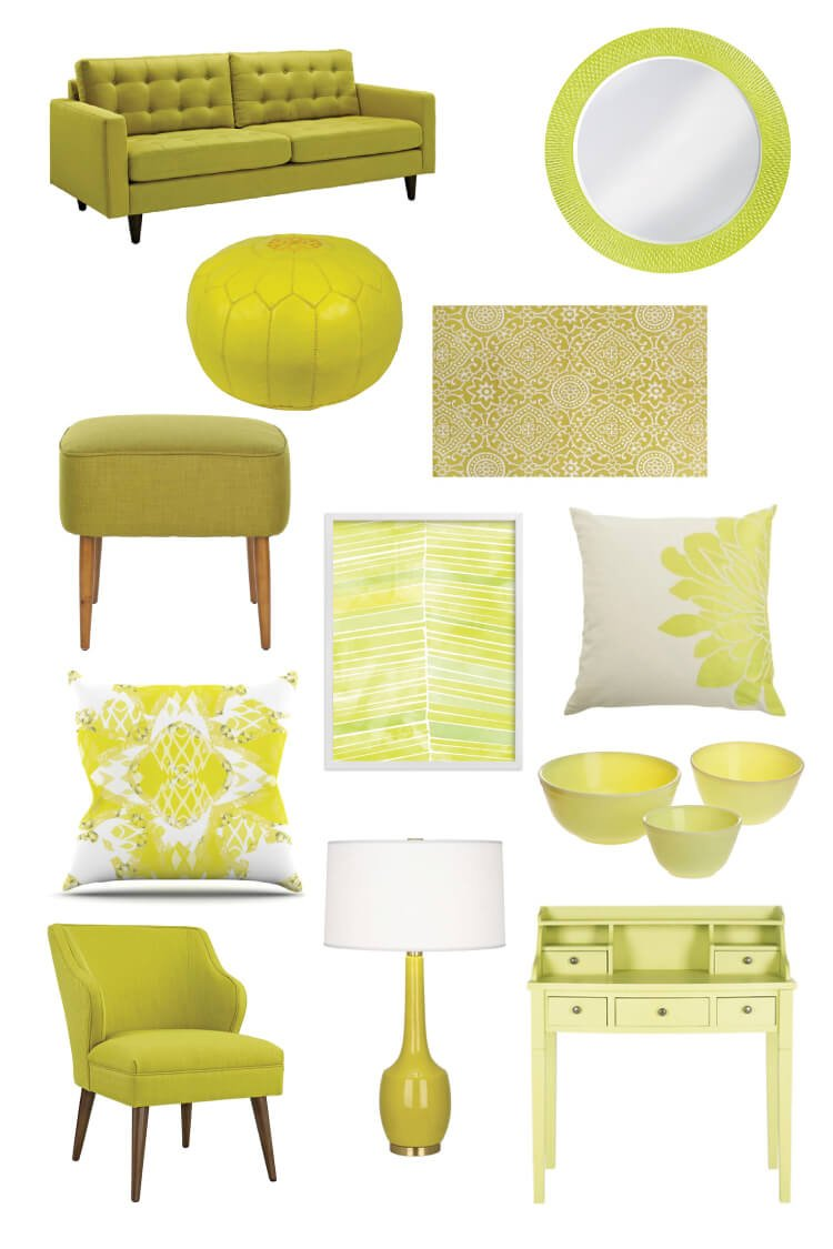 Citron is a fun color that will brighten up any decor! A bright yellow with a hint of green, pair it with navy, pink, gray, or wood tones.
