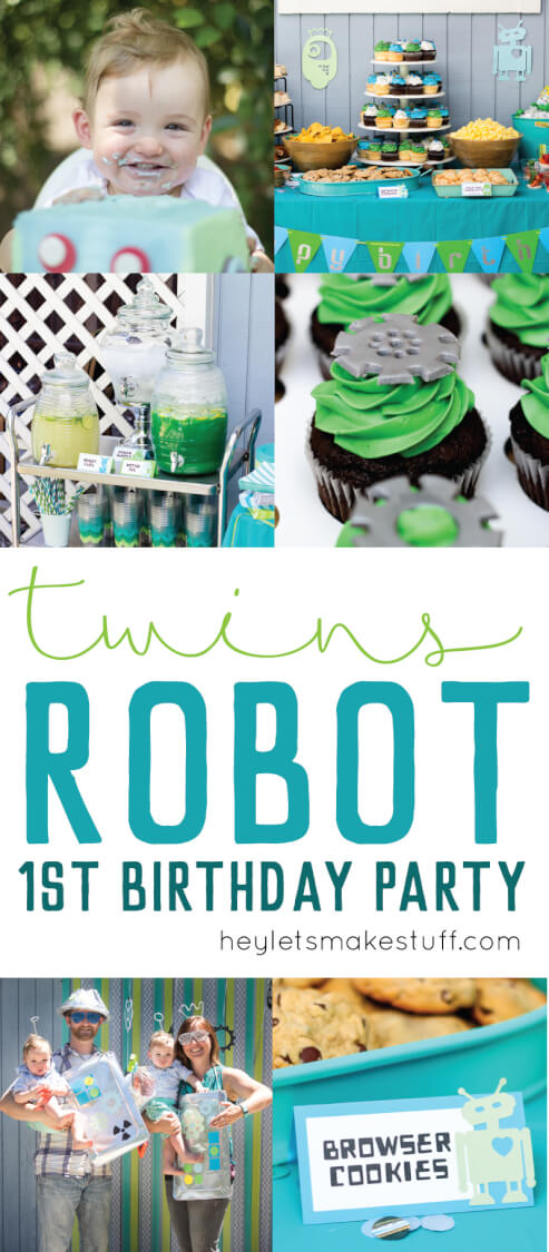 We threw our twin boys a Robot Birthday Party for their first birthday! Tons of fun details -- robot cakes, photo booth, ball pit, delicious robot-themed food, and, of course, a friend dressed like a robot for all the kids to hang out with!