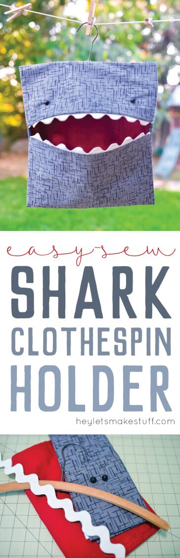 Easy-sew shark clothespin holder pin image