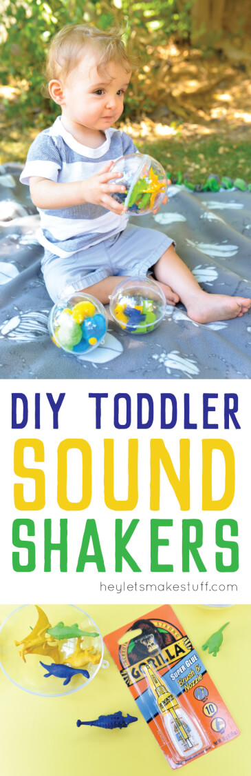 toddler holding sound shaker toy using plastic ornaments and Gorilla Glue pin image