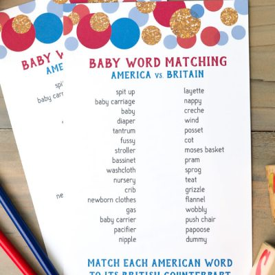 American and British Word Match Baby Shower Game