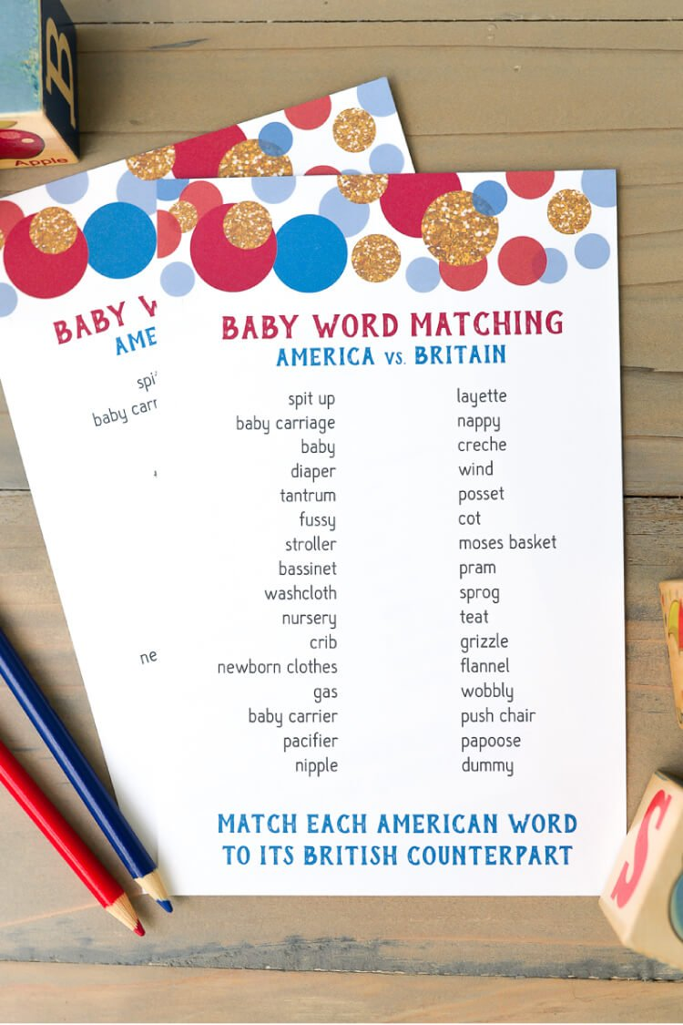 american and british word match baby shower game   hey