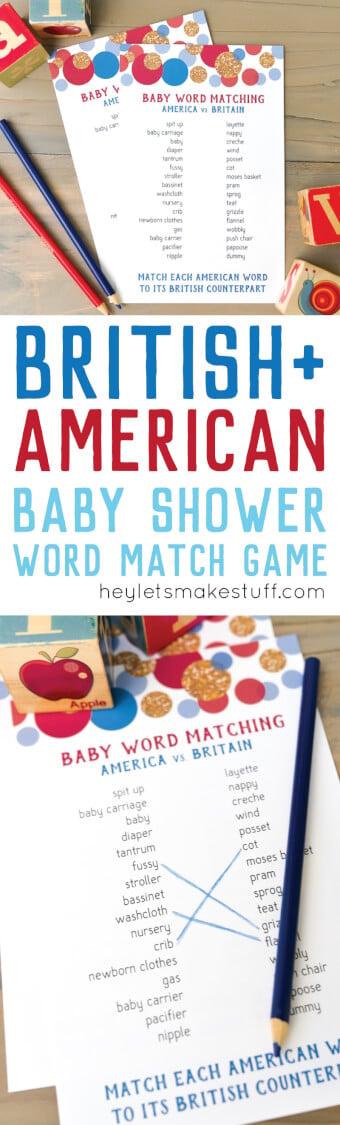 American and British baby shower matching game pin image