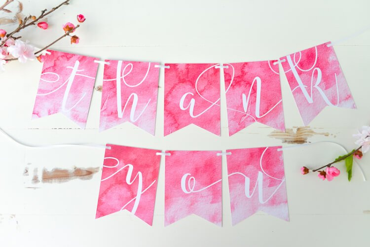 pink THANK YOU banner using the Cricut Explore's Print Then Cut feature