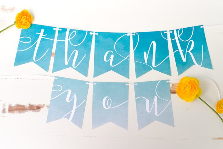 THANK YOU banner using the Cricut Explore's Print Then Cut feature