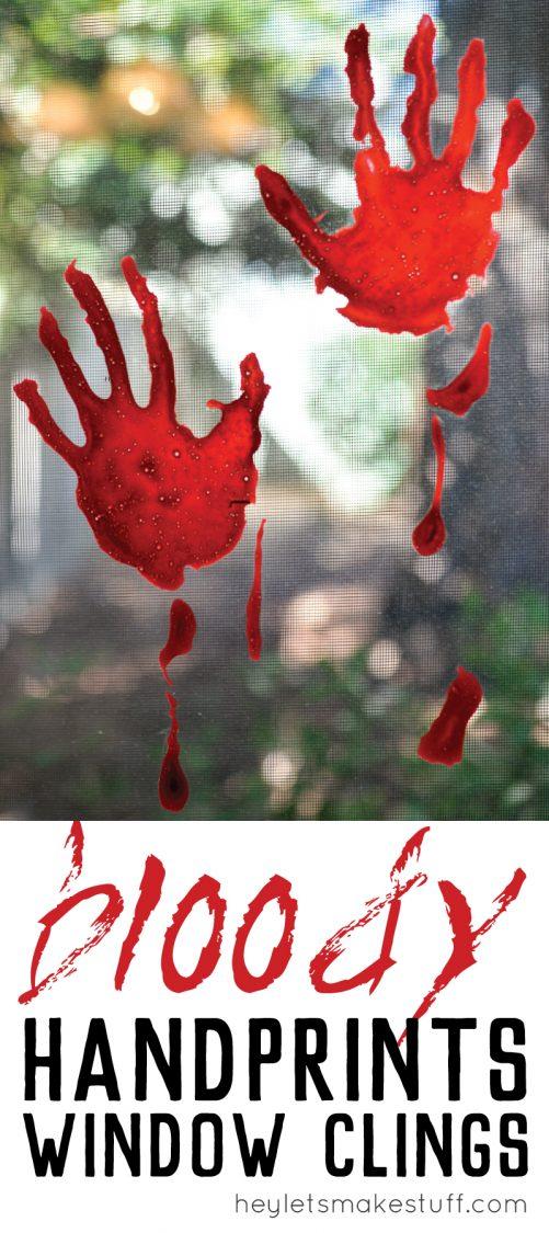 DIY Halloween decoration -- bloody handprint window clings pin image
