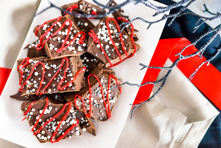 This quick and easy Dracula Chocolate Bark is a Halloween treat! Loaded with delicious dark chocolate and rich espresso, it's the perfect snack for watching the classic Halloween movie!