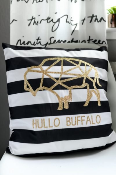 Hullo Buffalo Iron-On Vinyl Pillow with the Cricut Explore Air 2