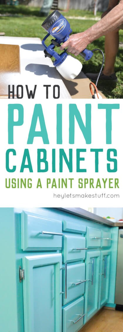 Painting cabinets? Get a perfect finis by taking the time to paint them right! Here's how to paint cabinets using latex paint and a paint sprayer.