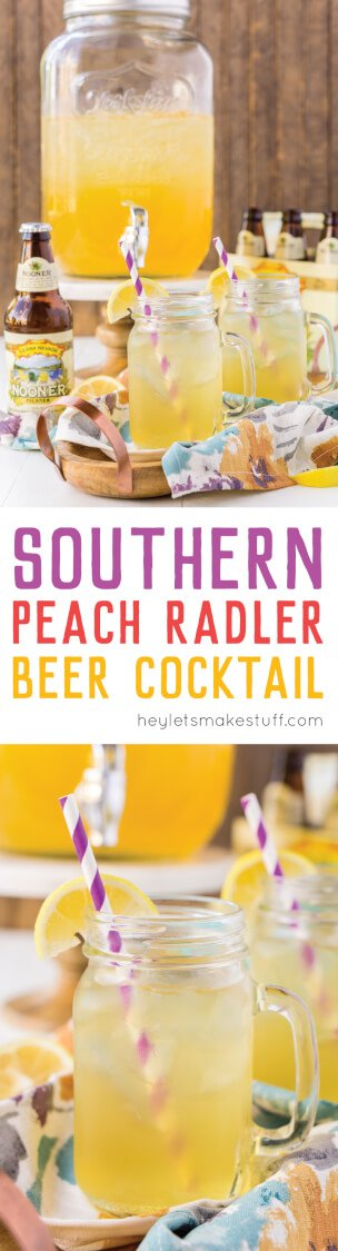 This sweet southern peach radler makes entertaining a breeze! Mix one up in a drink dispenser, turn on some country music, and live the good life.