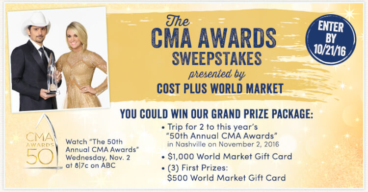 Win a trip to the 2016 CMA Awards, thanks to World Market!