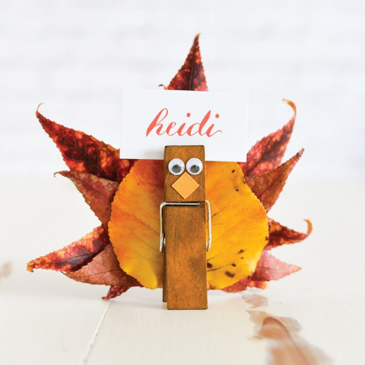 these easy turkey place card holders are super simple to make gather fall leaves