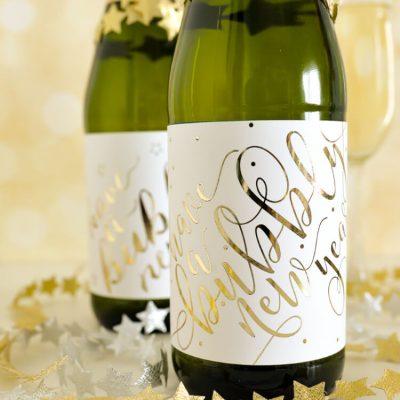 DIY Foiled Champagne Bottle Labels