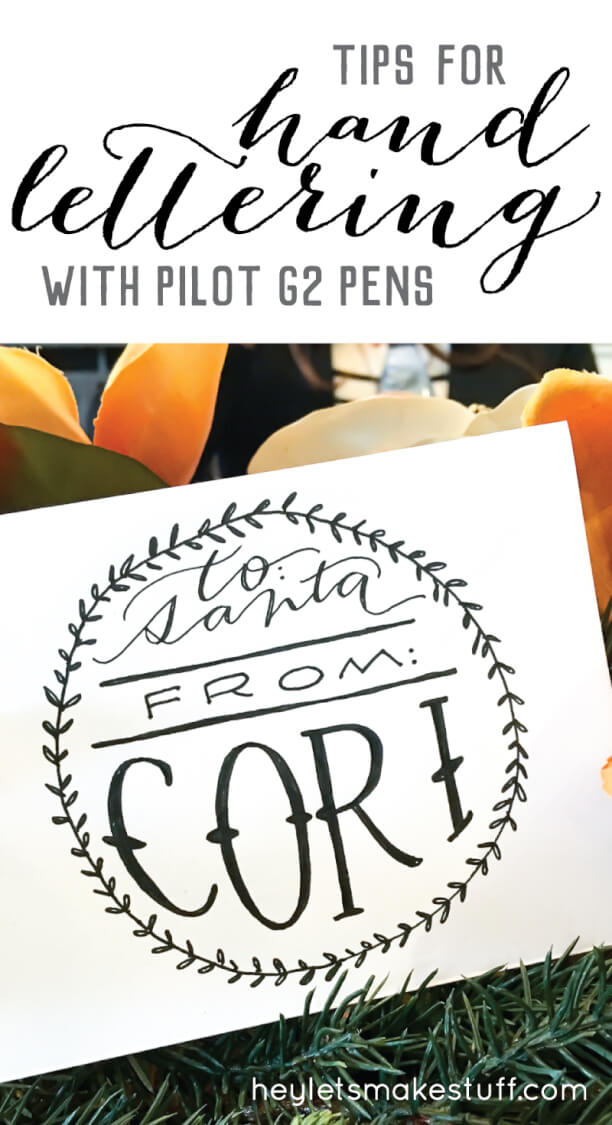 Hand lettering doesn't need complicated or expensive tools. The everyday Pilot G2 is the perfect pen for hand lettering your Christmas cards and other gifts this holiday season.