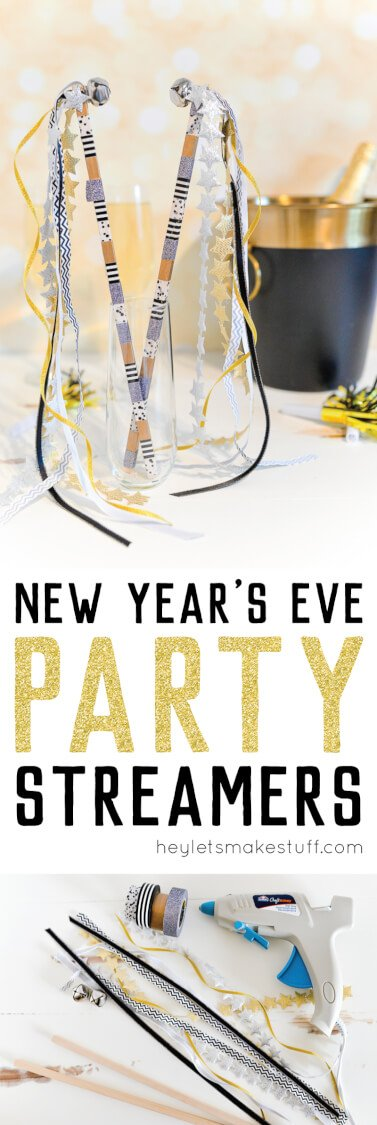 If you're throwing a New Year's Eve party, make these fun streamers to wave at midnight! I added a little bell to help you ring in the new year in style.