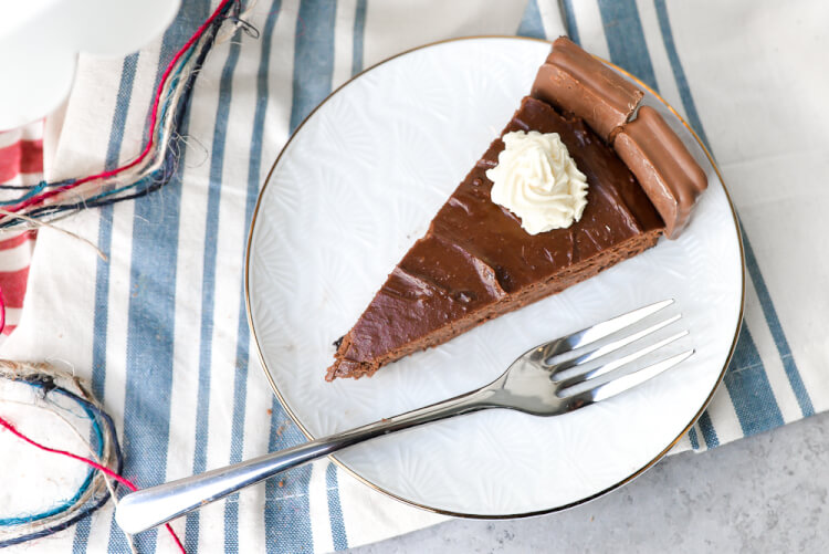 Chocolate Tim Tam Cheesecake is the perfect decadent treat for celebrating Australia Day! This is an easy cheesecake to put together, ringed with original Tim Tams and topped with sweet homemade whipped cream.