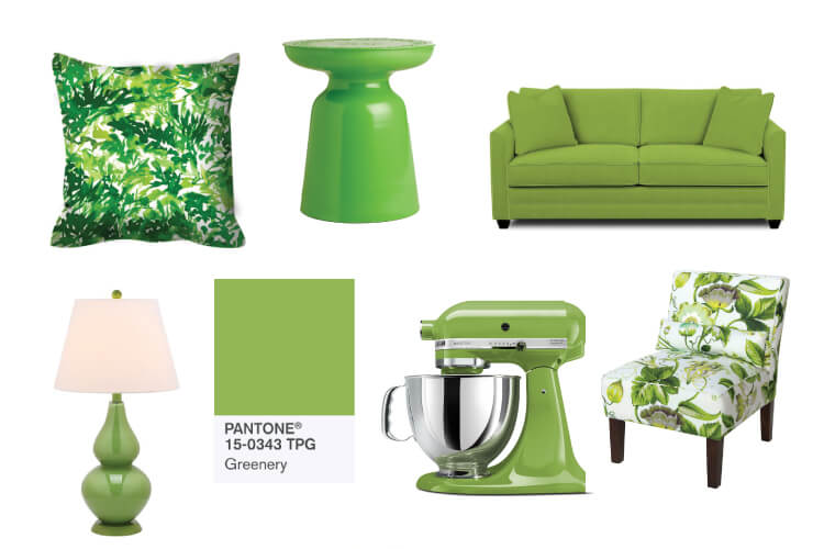 Greenery is Pantone's Color of the Year! This bright green is symbolic of new life and a fresh start. Use it as an accent color in your decor to bring life and happiness into your home.