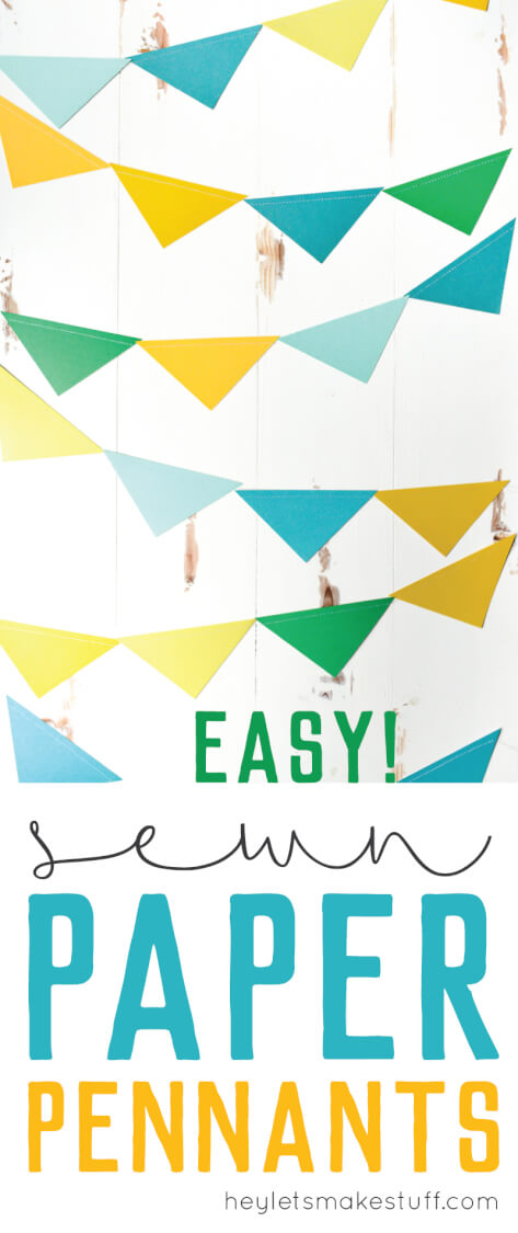 These are the easiest paper pennants to make for any party! Sew the pennants together with your sewing machine to create a banner that's perfect for your next birthday party, baby shower, or as nursery decorations.
