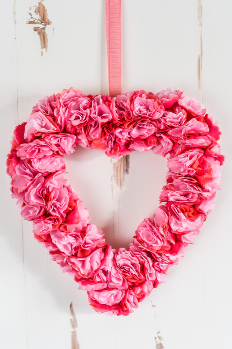 How to make tissue paper flowers four ways hey lets make stuff this beautiful tissue paper valentines day wreath is deceptively simple to make this easy paper mightylinksfo