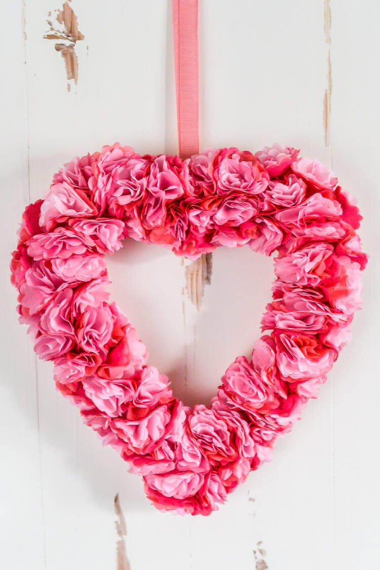 Tissue Paper Flower Valentine S Day Wreath Easy Valentines Day Decor