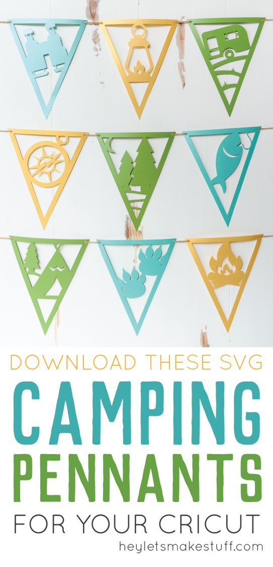 These paper camping pennants, cut on the Cricut or Silhouette, are perfect for a camping themed party or kid's bedroom. Get all nine detailed SVG or DXF files and make this fun camping craft!