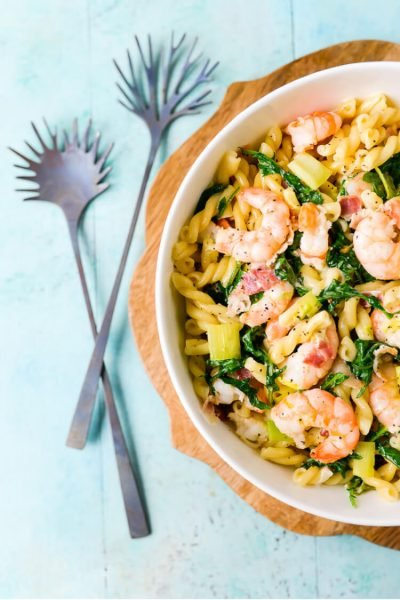 Creamy Shrimp and Kale Pasta