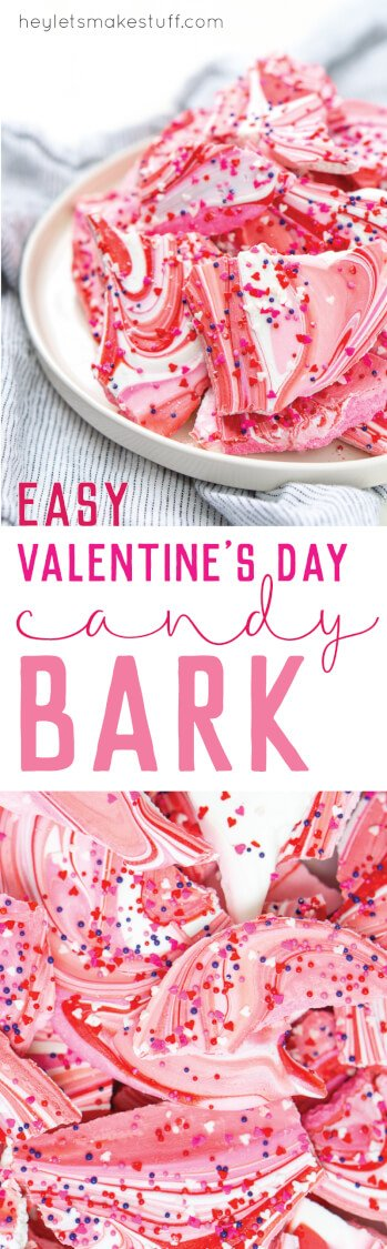 This sweet Valentine's Day candy bark is the perfect last-minute Valentine's Day treat. Just two ingredients to make this fun candy treat that's perfect for sharing with your kids or significant other!