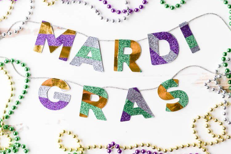 Easy Washi Tape Mardi Gras Garland
