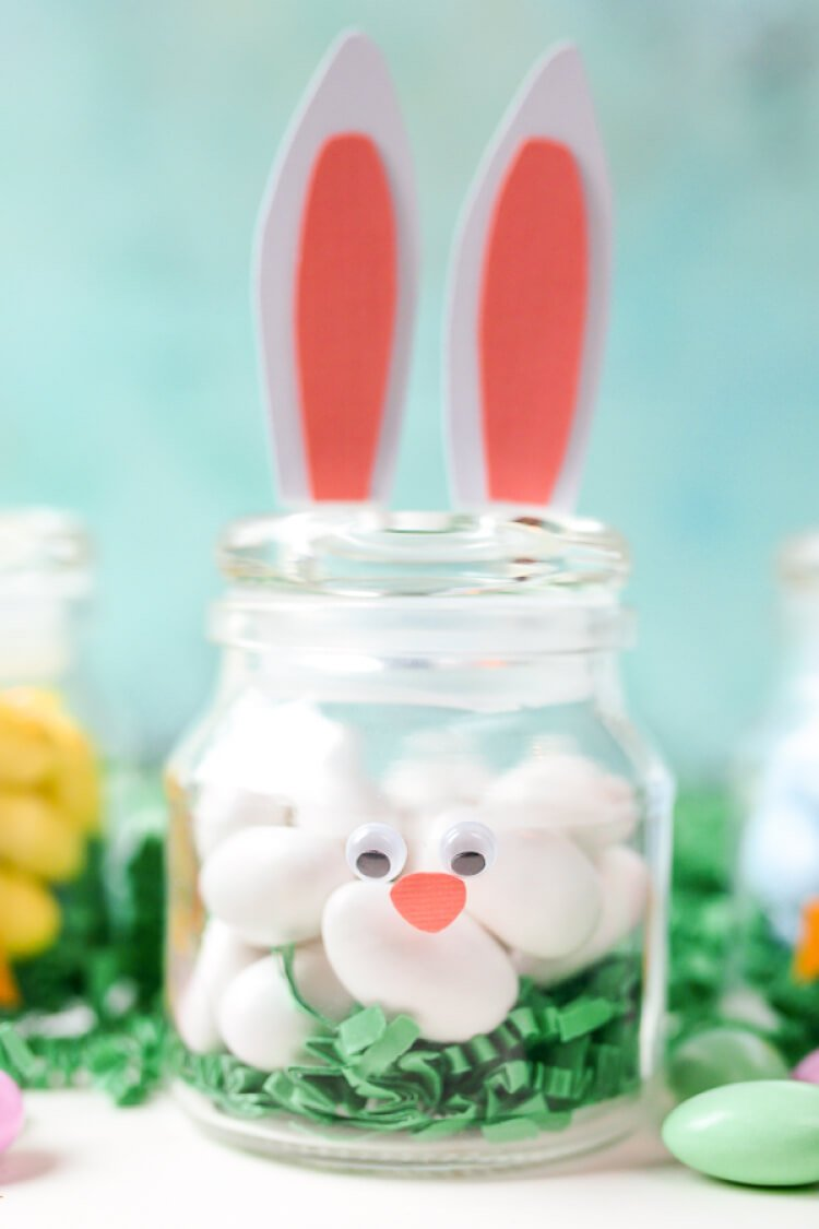 Diy easter jars bunny and chick hey lets make stuff make these adorable diy easter jars using a simple spice jar and paper fill with negle Choice Image
