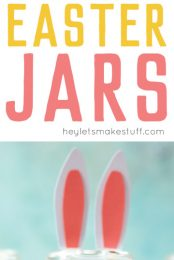Make these adorable DIY Easter Jars using a simple spice jar and paper! Fill with candy or other goodies to make the perfect Easter basket stuffer.