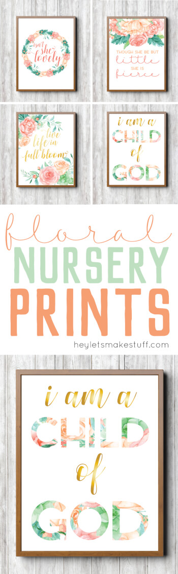 These feminine floral nursery prints are the perfect finishing touch to your little girl's room!