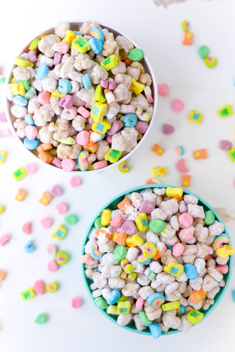 These Lucky Charms muddy buddies combine the best of traditional muddy buddies with the sweet marshmallowy goodness of Lucky Charms! Whip up a batch for St. Patrick's Day or whenever you feel you need the luck of the Irish.These Lucky Charms muddy buddies combine the best of traditional muddy buddies with the sweet marshmallowy goodness of Lucky Charms! Whip up a batch for St. Patrick's Day or whenever you feel you need the luck of the Irish.