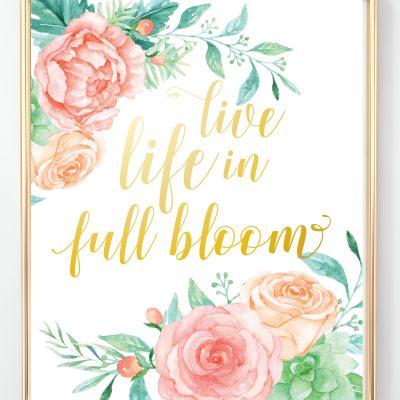Free Printable Pink Floral Nursery Initials + Prints