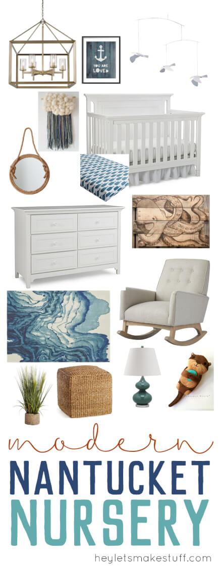 Imagine being in Nantucket in this beachy New England nursery! The perfect gender-neutral nursery decor for any little baby who wants to fall asleep to the sound of the waves lapping on the shore.